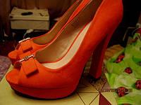 туфли женские красные как замша 39.5 р стильные удобные