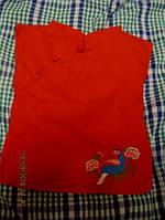 Платье красное на куклу одежка с вышивкой  игрушка