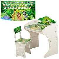 Парта детская со стульчиком Vivast MV-901 для школьников Виваст  джунгли белая