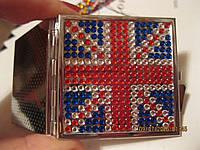 Зеркало зеркальце небольшое карманное британский ФЛАГ модный сувенир двухстороннее