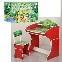 Парта детская со стульчиком Vivast MV-901 для школьников Виваст  джунгли красная