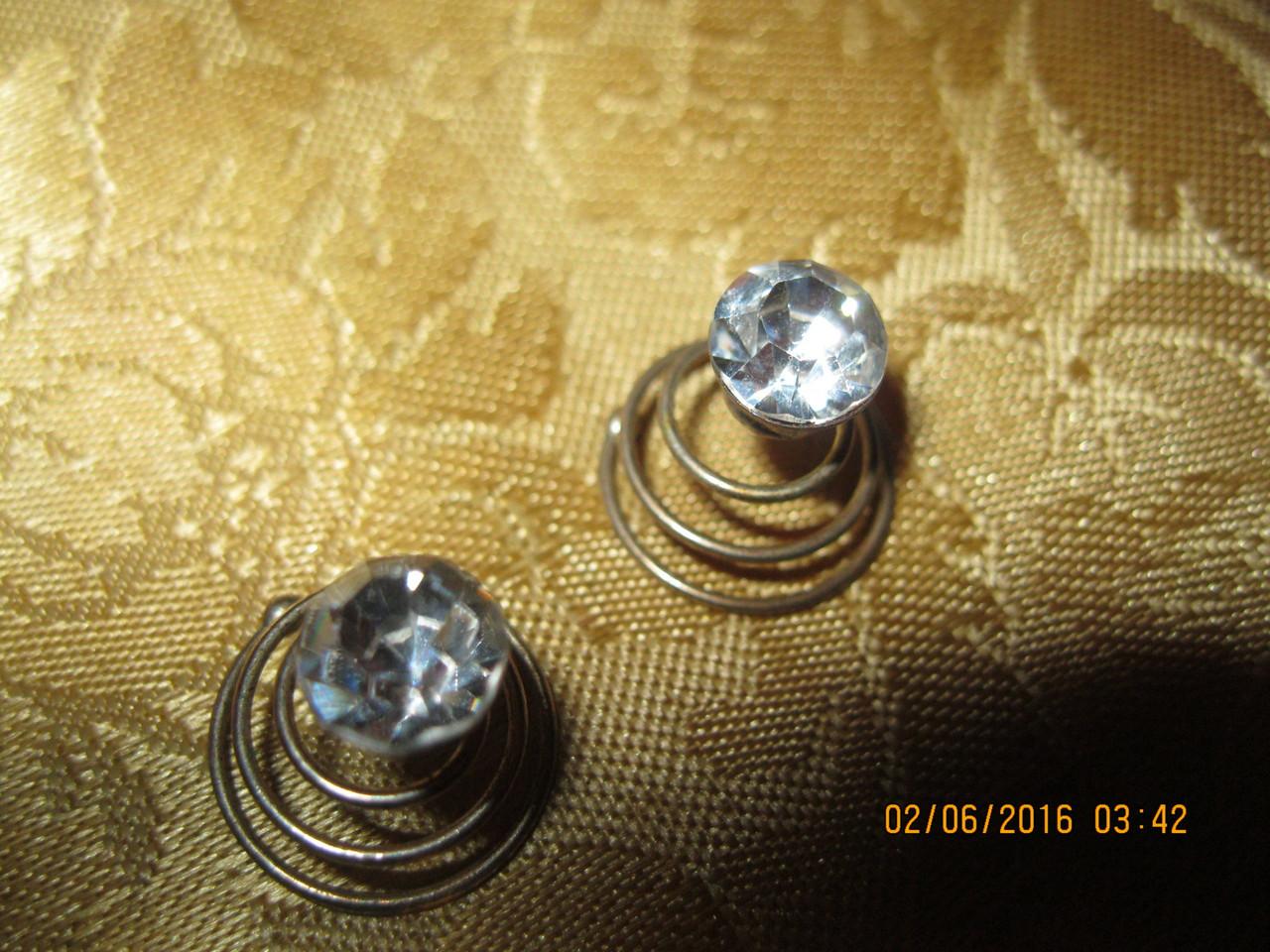 Шпилька невидимка вкрутки  камни для причесок набор=2штучки фирменные