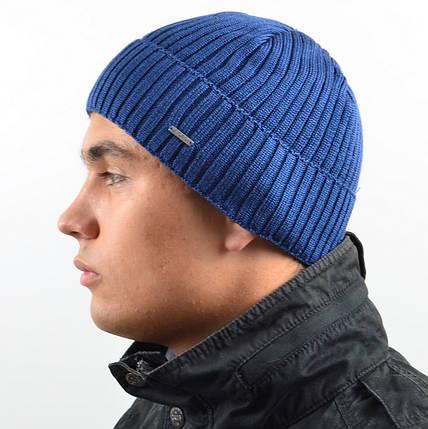 Мужская вязанная шапка NORD с отворотом голубой, фото 2