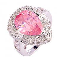 Кольцо с розовым и белым топазом р.16