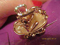 Заколка краб крабик зажим маленький металлический с камнями