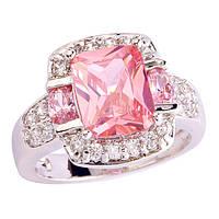 Кольцо розовый и белый топаз (имитация)
