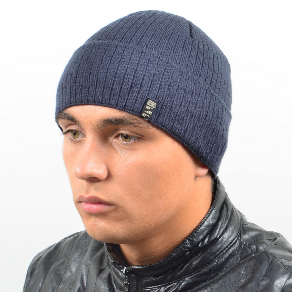 Мужская вязанная шапка NORD с отворотом антрацит