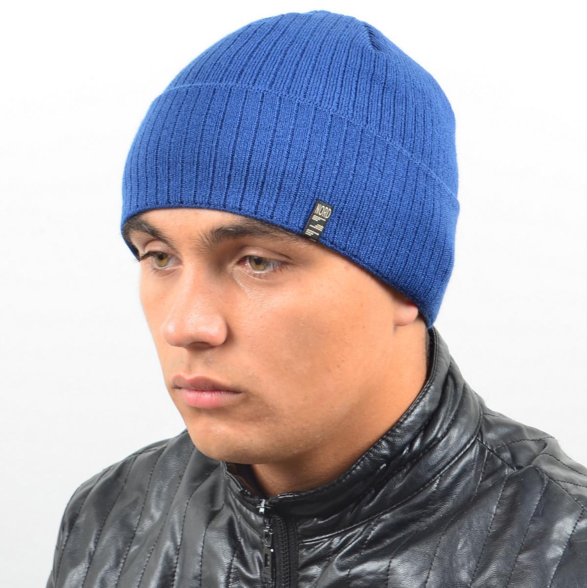 Мужская вязанная шапка NORD с отворотом джинс