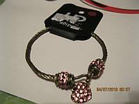 шамбала браслет женский шикарный металл розовые камни сердце