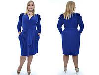 Женское красивое платье больших размеров с оригинальными рюшами на плече №176  48-62 р