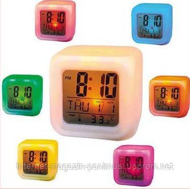 Купить 7 LED Цветной светящийся цифровой будильник
