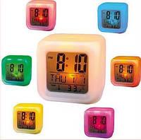 Купить 7 LED Цветной светящийся цифровой будильник, фото 1