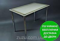 """Стол кухонный стеклянный """"Плетеная рамка"""". Разные раскраски"""