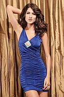 1078DB Платье Синее с Украшением Декольте S/M
