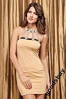 1123DY Платье Песочное Украшение Декольте S/M