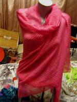 Палантин шикарно розовый легкий огромный шарф шаль