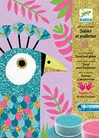 """DJECO Художественный комплект рисование цветным песком """"Ослепительные птицы"""""""