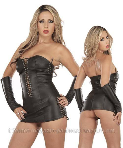 Женское Кожанное чёрное платье Адель размер S