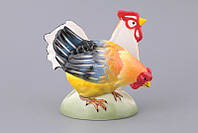 "Салфетница фарфоровая 13х8х11 см. ""Петух и курица"" разноцветная"