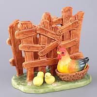 "Салфетница фарфоровая 13х8х11 см. ""Курица"" коричневая"
