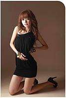 1013DB Платье Черное на Одно Плечо с Паетками S/M