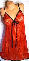 Комлект белья ночнушка + стринги красное кружевное