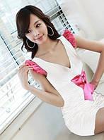 1270DW Платье Белое с Розовым Бантом Летнее S/M