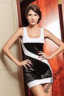 1127DW Платье Белое с Черными Вставками Модное S/M