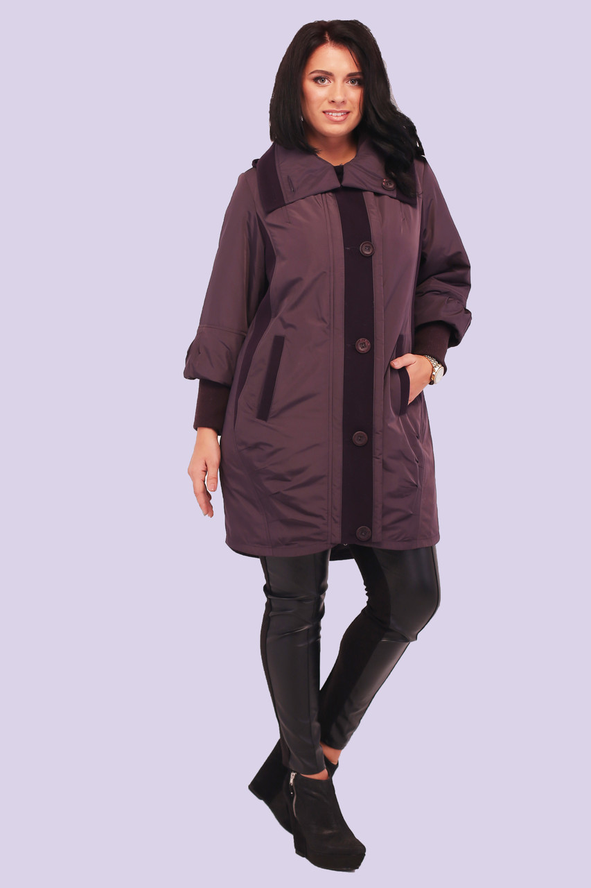 Красивая зимняя женская куртка со вставками большого размера 54-64, фото 1