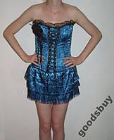 0557DB Платье Корсет Синее и Трусики Стринги M