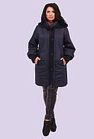 Красивая зимняя женская куртка со вставками большого размера 54-64