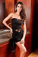 1057DB Платье Черное с Гипюровыми Вставками S/M