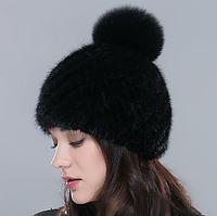 Женская норковая шапка с бубоном. Норковая черная шапка на подкладке. Хит сезона!, фото 1