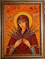 Икона из янтаря Семистрельная Пресвятая Богородица, фото 1