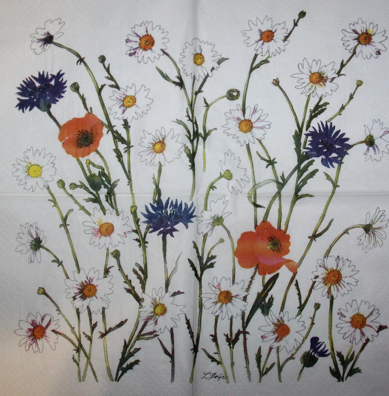 Салфетки декупажные Цветы полевые 6152