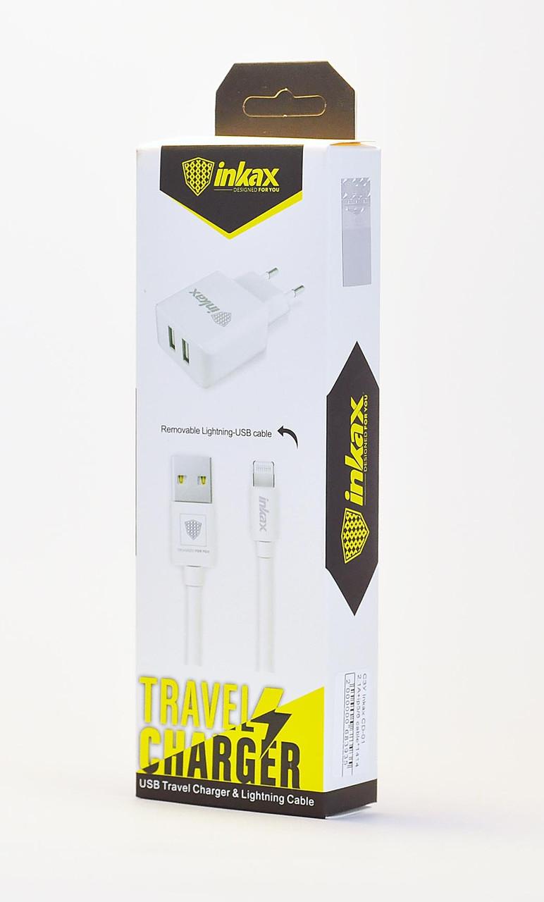 Сетевое зарядное 2USB + кабель iPhone 5/6 Inkax CD-01 2.1A