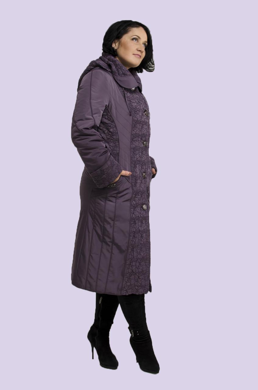 Женское демисезонное пальто плащ с декоративной стежкой большого размера 52-64 размер, фото 1