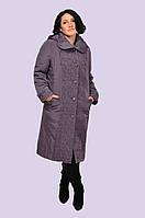 Женское демисезонное пальто плащ с декоративной стежкой большого размера 52-64 размер
