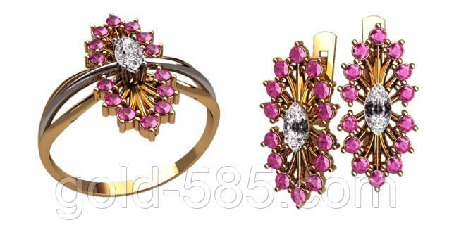 Стильный золотой ювелирный комплект 585  необычной формы - Мастерская  ювелирных украшений «GOLD-585 fbcc75632e8