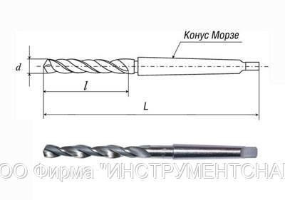 Сверло 12,8 мм, к/х, Р6М5, ср. серия, 182/101 мм, КМ-1