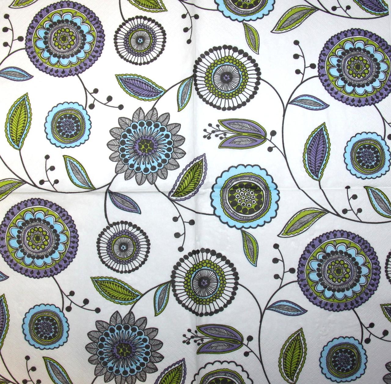 Салфетка для декупажа Орнамент с круглыми цветами 6160
