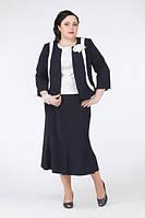 Костюм большого размера (жакет со вставками, декорированный розочкой и расклешенная юбка)