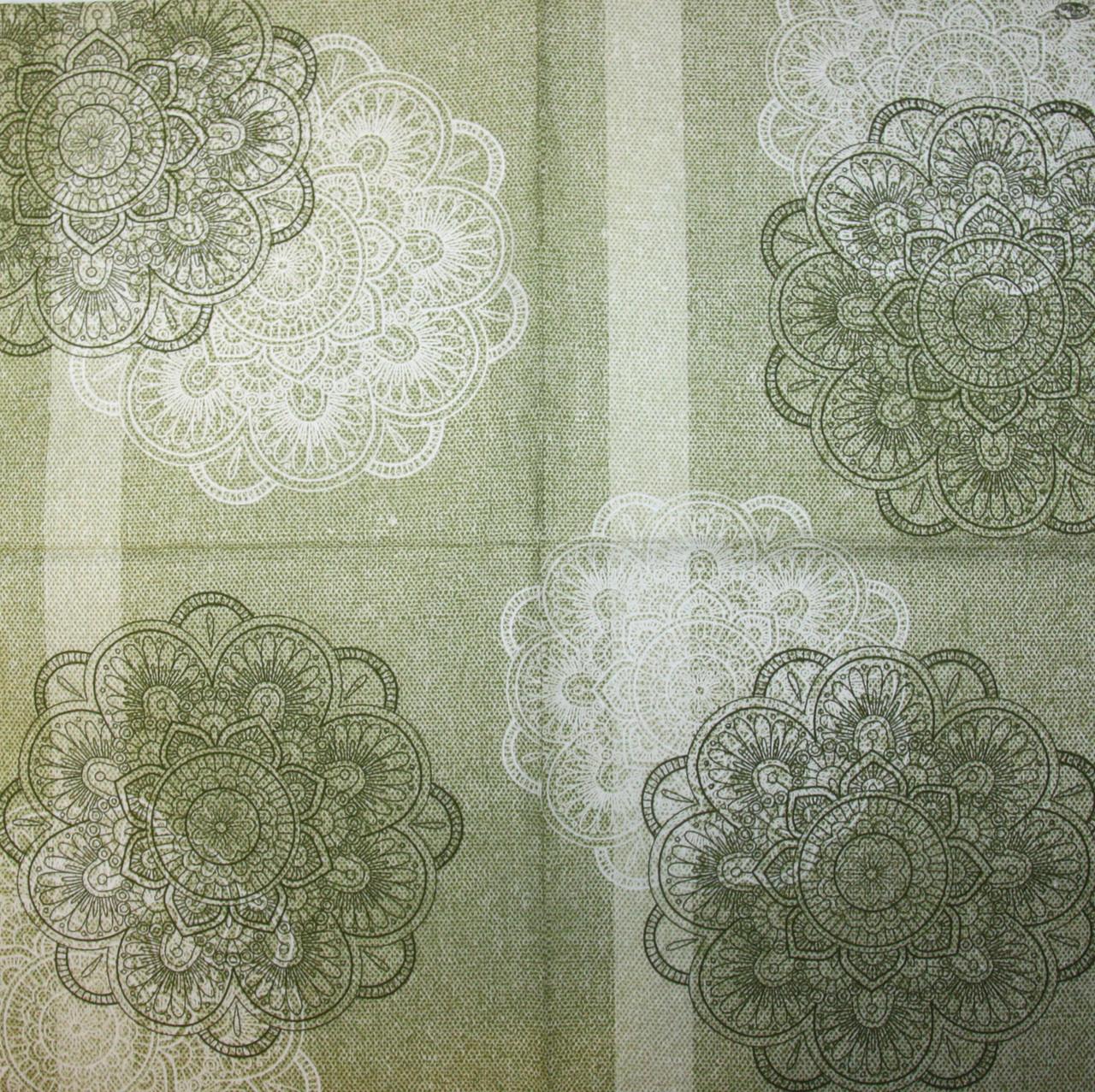 Салфетка для декупажа Орнамент зелёный 6161