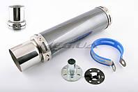 Глушитель на мототехнику (тюнинг)   300*90mm, креп. Ø48mm   (нержавейка, карбон mod:1, прямоток, тип:5)