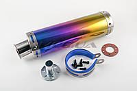 Глушитель на мототехнику (тюнинг)   300*90mm, креп. Ø48mm   (нержавейка, радуга, прямоток, mod:38)