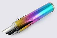 Глушитель на мототехнику (тюнинг)   420*100mm, креп. Ø78mm   (нержавейка, радуга, без креплений, mod:46)
