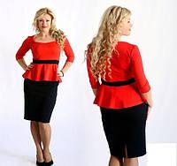 Костюм большого размера (блуза с баской и рукавами 3/4 и прямая юбка)