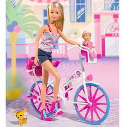 Кукольный набор Штеффи с малышом и чихуахуа на велосипеде Simba 5739050