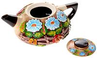 """Чайник плоский """"Украинский колорит"""" лепка"""