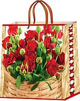 Пакеты бумажные для подарков Цветы размер 24 х 24 см (12 шт./уп.)